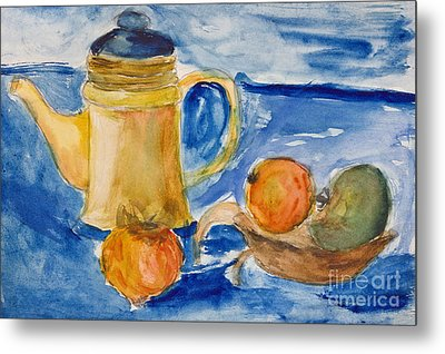 Still Life With Kettle And Apples Aquarelle Metal Print by Kiril Stanchev