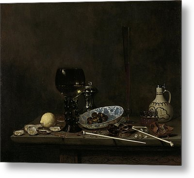 Still Life With Roemer, Flute Glass, Earthenware Jug Metal Print