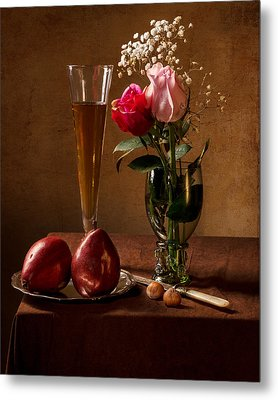 Still Life With Roses In Small Roemer And Two Red Pears Metal Print by Levin Rodriguez