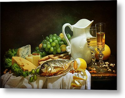 Still-life With Smoked Fish And Cream Cheese Both Fresh Fruit And Fragrant White Wine Metal Print by Marina Volodko