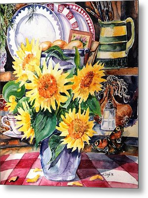 Still Life With Sunflowers  Metal Print by Trudi Doyle