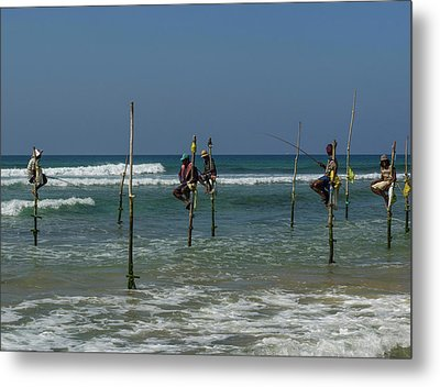 Stilt Fishermen On Beach, Galle Metal Print by Panoramic Images