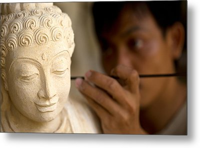 Metal Print featuring the photograph Stone Carver - Bali by Matthew Onheiber