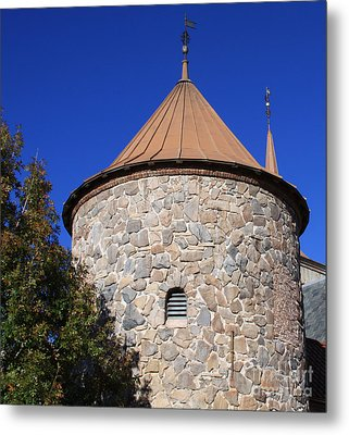 Metal Print featuring the pyrography Stone Tower by Chris Thomas