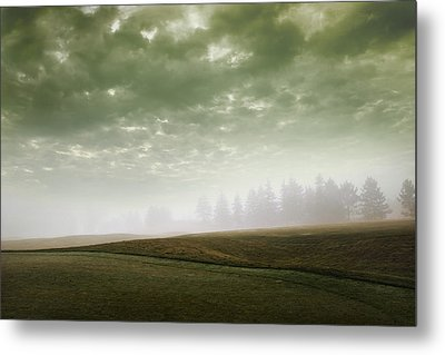 Storm Clouds And Foggy Hills Metal Print by Vast Photography