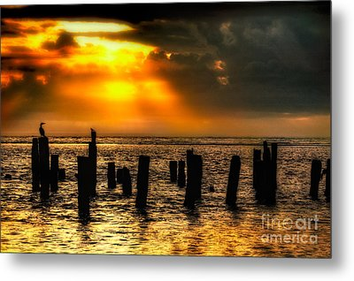 Stormy Skies At Sunrise Outer Banks Metal Print by Dan Carmichael