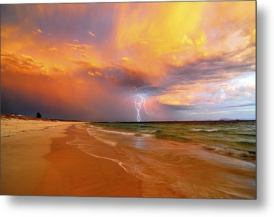 Stormy Skies - Lightning Storm In Esperance Metal Print by Sally Nevin