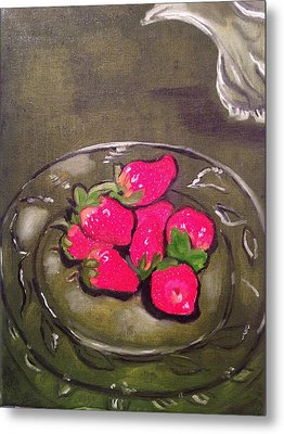 Metal Print featuring the painting Strawberries by Brindha Naveen