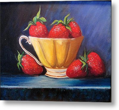 Strawberry Teacup Metal Print