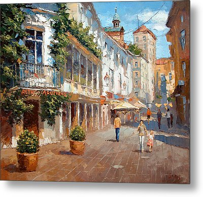 Metal Print featuring the painting Street In Baden Baden by Dmitry Spiros