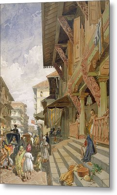 Street In Bombay, From India Ancient Metal Print
