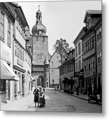 Metal Print featuring the photograph Street Scene Coberg Germany 1903 by A Gurmankin