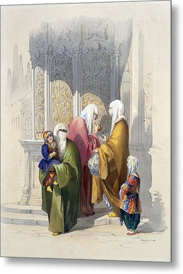 Street Scene With Passers-by Including Metal Print by Amadeo Preziosi