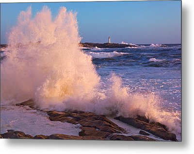 Strong Winds Blow Waves Onto Rocks Metal Print by Thomas Kitchin & Victoria Hurst