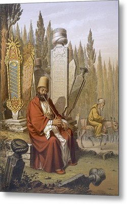 Sufi, Playing The Ney, Sits Metal Print by Jean Brindesi
