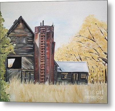 Metal Print featuring the painting Golden Aged Barn -washington - Red Silo  by Jan Dappen