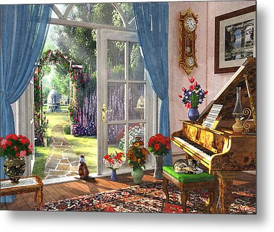 Metal Print featuring the painting Summer Garden View by Dominic Davison
