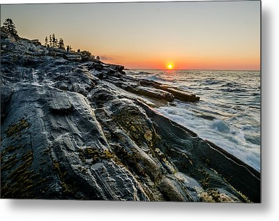 Sun Breaks At Pemaquid Point Metal Print by At Lands End Photography