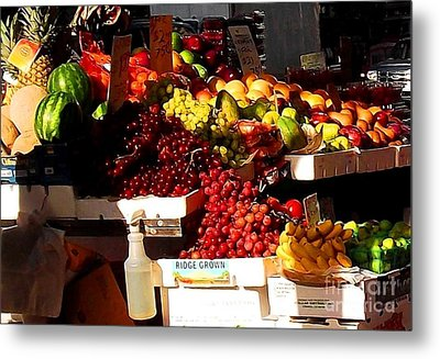 Sun On Fruit Close Up Metal Print by Miriam Danar