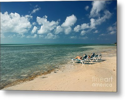 Sunbathers On The Beach Metal Print by Amy Cicconi
