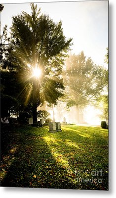 Sunburst Over Cemetery Metal Print by Amy Cicconi