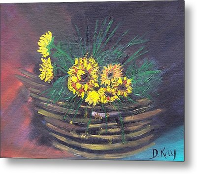 Sunflower Basket Metal Print by The GYPSY And DEBBIE
