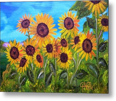 Metal Print featuring the painting Sunflower Jungle by The GYPSY And DEBBIE