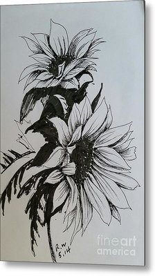 Metal Print featuring the drawing Sunflower by Rose Wang