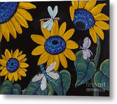 Sunflowers And Dragonflys-painting Metal Print