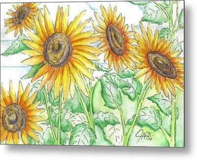 Metal Print featuring the painting Sunflowers In The George Garden by The GYPSY And DEBBIE