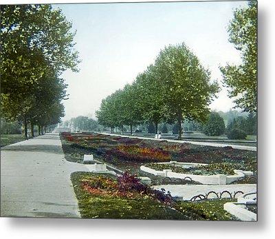 Metal Print featuring the photograph Sunken Gardens Fairmount Park Philadelphia 1907 by A Gurmankin