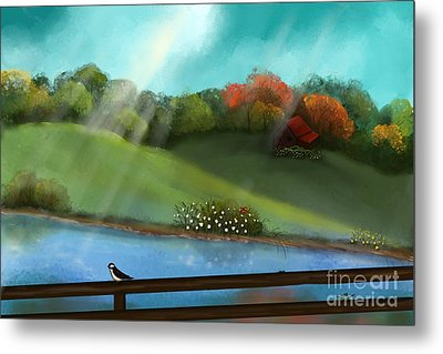 Sunny Meadow By The Water Metal Print by Nancy Long