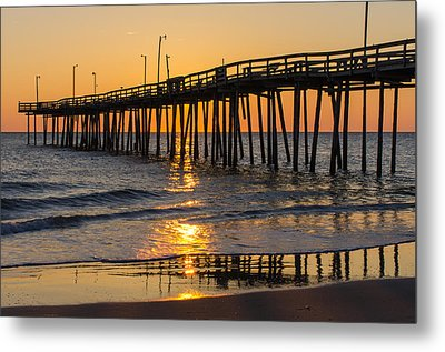 Sunrise At Outer Banks Fishing Pier Metal Print by Gregg Southard