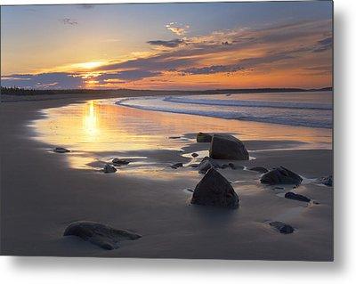 Sunrise On A Beach Near The Port Metal Print by Irwin Barrett