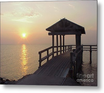 Sunrise Pier 1 Metal Print by D Wallace