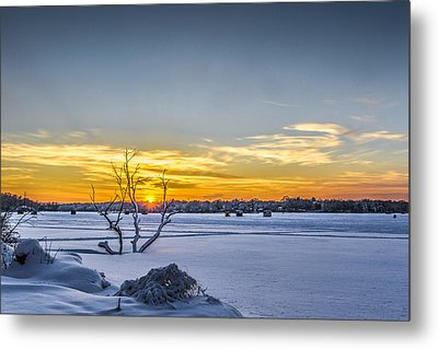 Sunset And Ice Shanties Metal Print by Randy Scherkenbach