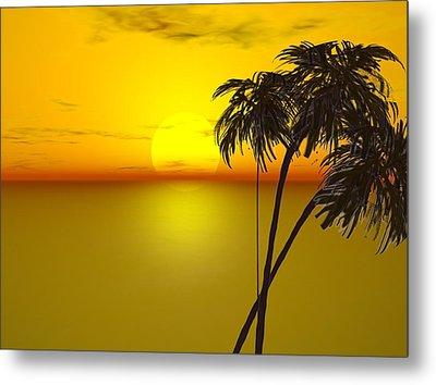 Sunset And Palms Metal Print by John Vito Figorito