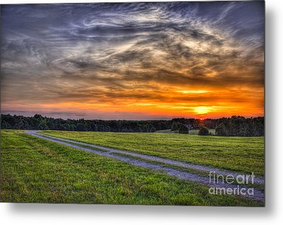 Sunset And The Road Home Metal Print by Reid Callaway
