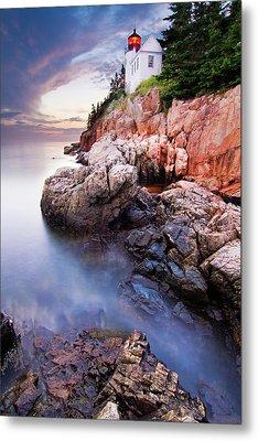 Sunset At Bass Harbor Lighthouse Metal Print