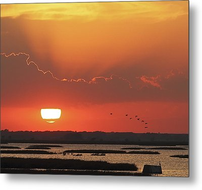 Sunset At Cheyenne Bottoms Metal Print by Rob Graham