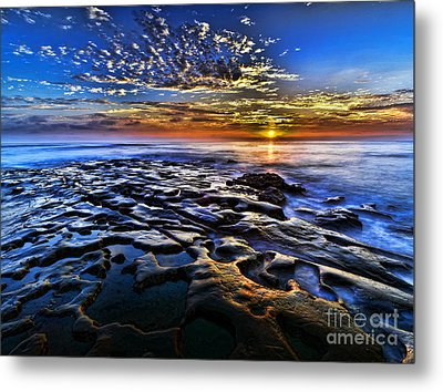 Sunset At La Jolla Tide Pools Metal Print by Peter Dang