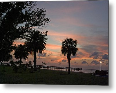 Metal Print featuring the photograph Sunset Fisherman by Judy  Johnson