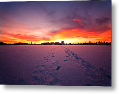 Sunset In Karlstad Sweden. Metal Print