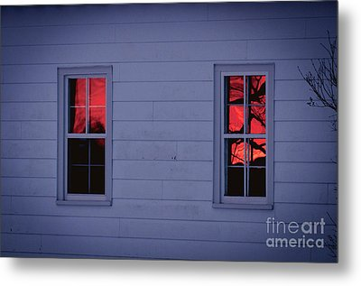 Sunset In The Windows Metal Print by Cheryl Baxter