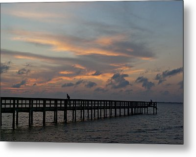 Metal Print featuring the photograph Sunset On The Pier by Judy  Johnson