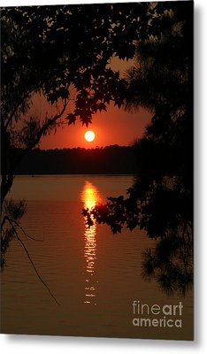 Sunset Over Lake Metal Print by D Wallace