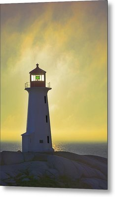 Sunset Over Peggys Cove Lighthouse Metal Print by Thomas Kitchin & Victoria Hurst