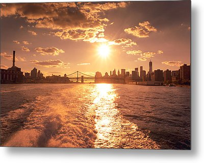 Sunset Over The New York City Skyline Metal Print by Vivienne Gucwa