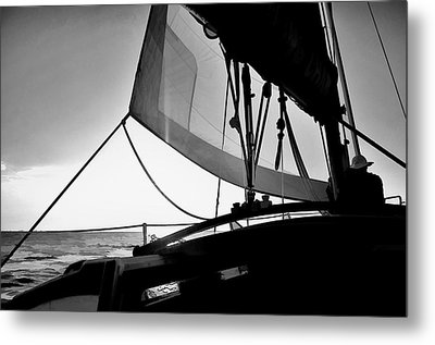 Metal Print featuring the photograph Sunset Sail In Black And White by Pamela Blizzard