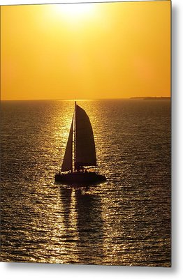 Metal Print featuring the photograph Sunset Sail by Jennifer Wheatley Wolf
